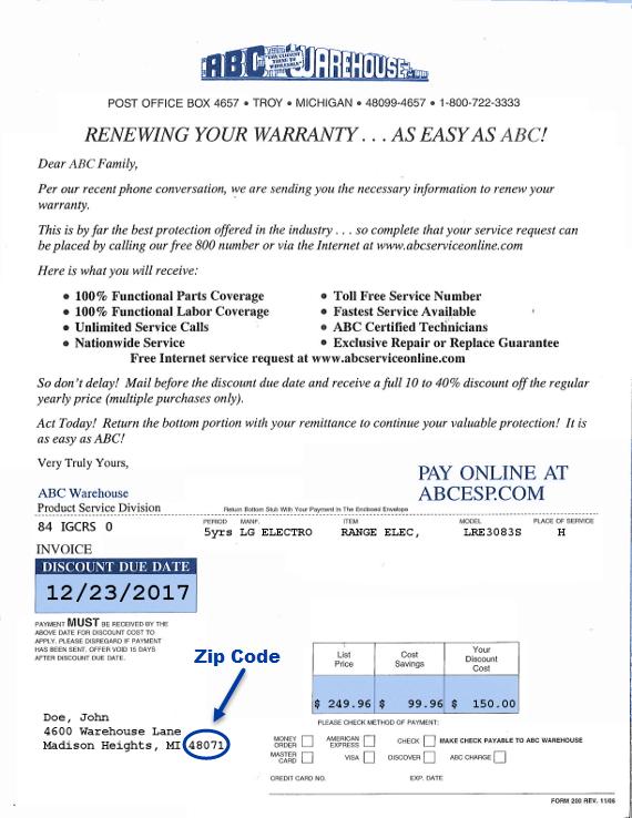 Renew Warranty - Zip Code. Credit Card ...